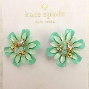 NEW KATE SPADE Stud Earrings Teal Enamel Crystal